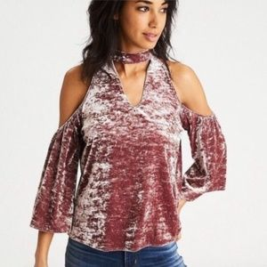 American Eagle Pink Velvet Cold Shoulder Top sz XL